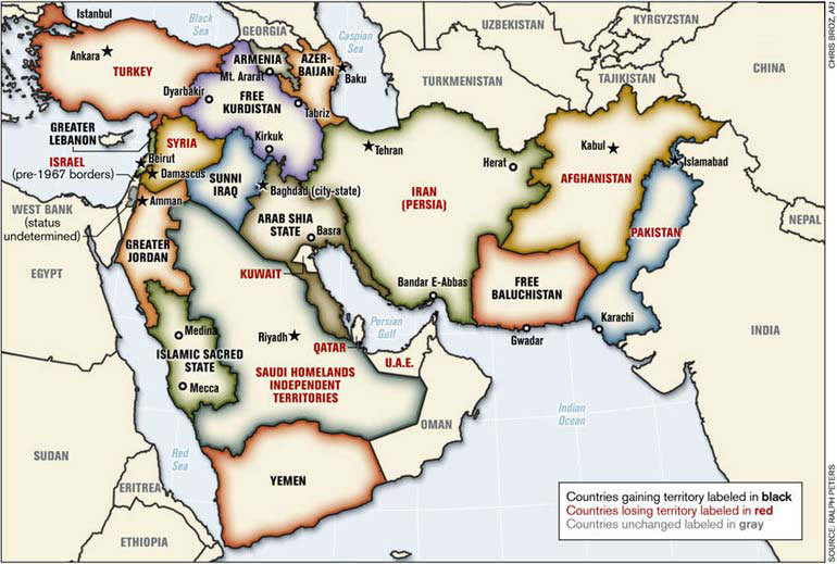 Blood borders: How a better Middle East Would Look; Ralph Peters; 2006; Armed Forces Journal; http://www.armedforcesjournal.com/blood-borders ;Lizenz: k.A.