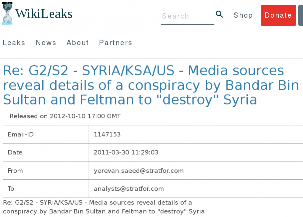 10.10.2012; Screenshot aus E-Mail-Verkehr von Stratfor-Mitarbeitern; https://wikileaks.org/gifiles/docs/11/1147153_re-g2-s2-syria-ksa-us-media-sources-reveal-details-of-a.html